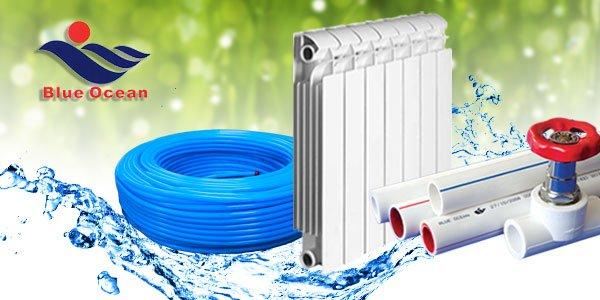 Система отопления «Водяной теплый пол» BLUE OCEAN, трубопроводы горячей и холодной воды, радиаторы.